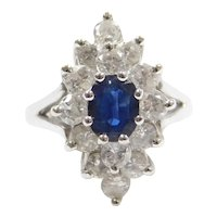 1.85 ctw Sapphire and Diamond Navette Cluster Ring 14k White Gold