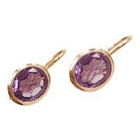 Edwardian 6.00 ctw Lab Alexandrite Earrings 14k Gold