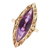 Edwardian 5.10 Carat Purple Sapphire Navette Ring with Floral and Leaf Halo 14k Gold