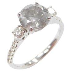 2.67 ctw Platinum Diamond Engagement Ring 18k White Gold
