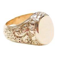 Vintage Men's Ornate Floral Signet Ring 14k Gold