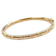 18k Gold Diamond Cut Bangle Baby / Childs Bracelet