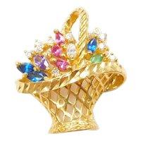 24k Fine Gold Colorful Gemstone Flower Basket Charm / Pendant