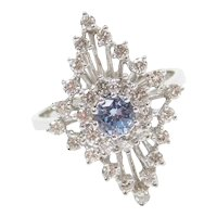 1.54 ctw Cinderella Blue Topaz and Diamond Navette Shape Ring 14k White Gold