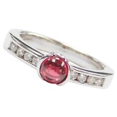 .75 ctw Pink Tourmaline and Diamond Ring 14k White Gold
