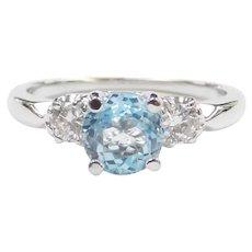 1.38 ctw Sky Blue Topaz and Diamond Ring 14k White Gold