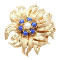 14k Gold Big Lapis and Cultured Pearl Flower Slide Charm