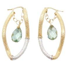 14k Gold Prasiolite Dangle Two-Tone Hoop Earrings