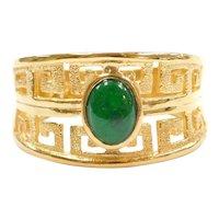 999 Fine 24k Gold Emerald Ring with Greek Key Design
