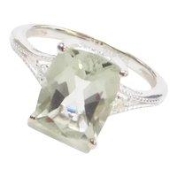 2.50 Carat Prasiolite and Faux Diamond Ring Sterling Silver