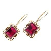 Edwardian 12.40 ctw Created Ruby Lever Back Earrings 14k Gold
