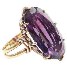 Edwardian 19.00 Carat Purple Sapphire Ring 18k Gold