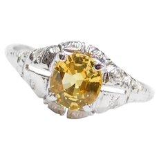 1.02 ctw Yellow Sapphire and Diamond Art Deco Ring 14k White Gold