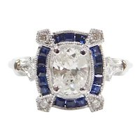 1.26 ctw Diamond and Sapphire Engagement Ring 14k White Gold ~ .73 Carat Oval Diamond