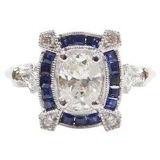 1.26 ctw Diamond and Sapphire Engagement Ring 14k White Gold ~ .73 Carat Oval Diamond