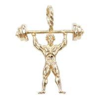 14k Gold Body Builder / Weight Lifter Charm