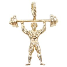 14k Gold Body Builder / Weight Lifter Charm