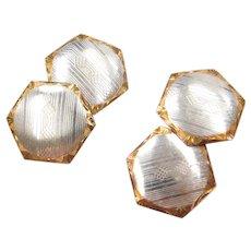 Art Deco Platinum and 14k Yellow Gold Men's Cufflinks