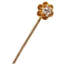 Victorian Old European Cut Diamond Stick Pin Buttercup