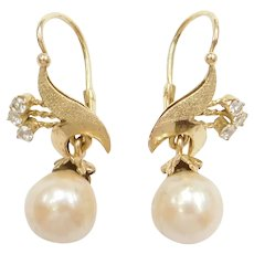 Edwardian Cultured Pearl and White Spinel Dangle Earrings 14k Gold