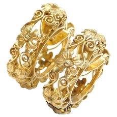 1940-50's Flower Swirl Hoop Earrings 14k Gold