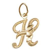 14k Gold Letter H Charm