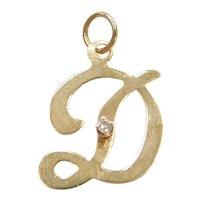 14k Gold Diamond Letter D Charm