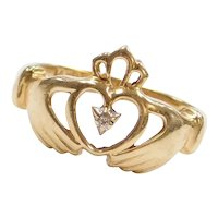 14k Gold Diamond Claddagh Ring ~ Friendship, Love and Loyalty ~ Commitment Ring