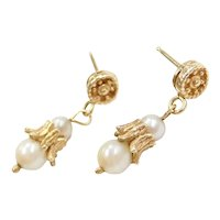 Delicate 14k Gold Cultured Pearl Drop Earrings