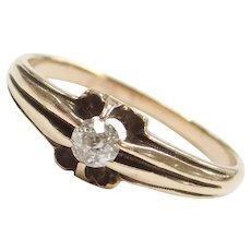 Victorian .16 Carat Old European Cut Diamond Ring 14k Yellow Gold