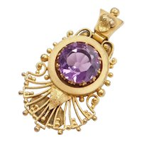 Victorian Ornate 14k Gold Amethyst Pin / Brooch