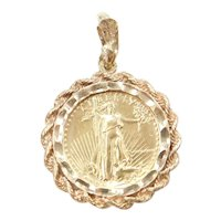 1/10 th Oz American Eagle 1986 Coin Pendant ~ 5 Dollars ~ Fine Gold 24k, 14k Gold