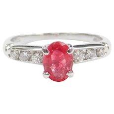 1.04 ctw Neon Hot Pink Red Rubelite Tourmaline and Diamond Alternative Engagement Ring Platinum