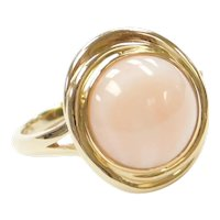 14k Gold Light Pink Angel Skin Coral Ring