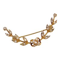 Art Nouveau Rose Cut Diamond Foliage Crescent Pin / Brooch