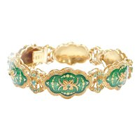 Rare Italian 18k Gold Green Guilloche Enamel and 1.74 ctw Natural Emerald Bracelet 7 3/4""