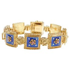 Rare UnoAErre Italian 18k Gold Blue Guilloche Enamel and Natural Ruby Bracelet With Floral Detail 7 5/8""
