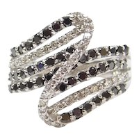 .86 ctw Black and White Modernist Diamond Ring 14k White Gold