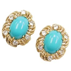 Persian Turquoise and White Spinel Earrings 14k Gold