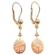 Carved Flower Angel Skin Coral Dangle Earrings 14k Gold