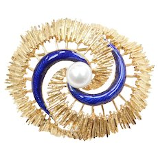 UnoAerre Italian 18k Gold Cobalt Blue Enamel and Cultured Pearl Pin / Brooch