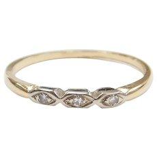Edwardian .03 ctw Diamond Wedding Band Ring 14k Gold and Platinum