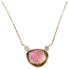 "Watermelon Tourmaline Slice and Diamond Necklace 18"" 14k Rose Gold"