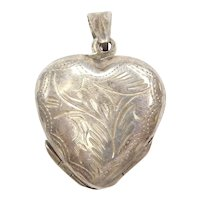 Sterling Silver Etched Heart Locket ~ Quad Photo ~ Pendant / Charms