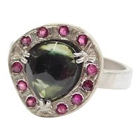 Handmade Green Tourmaline Faceted Slice in Ruby Halo Ring 14k White Gold