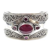 8.45 Carat Natural Ruby and Pink Tourmaline Cuff Bracelet Sterling Silver