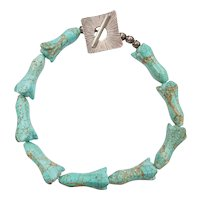 """Shiana 18 1/2"""" .999 Silver Carved Turquoise Tulip Flower Bead Necklace"""