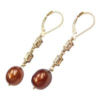 Burgundy Copper Color Cultured Pearls and Smoky Quartz Dangle Earrings 14k Gold Lever Backs