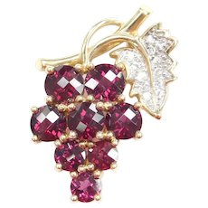 7.84 ctw Rhodolite Garnet & White Topaz Bunch of Grapes and Leaf Pendant / Pin 14k Gold Two-Tone