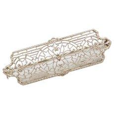 Art Deco Filigree Pin / Brooch 10k White Gold